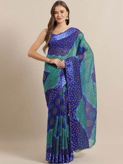 Chhabra 555 Blue Leheriya pattern Jute Cotton Silk Saree with Colorblocked Design and Satin Broad Border