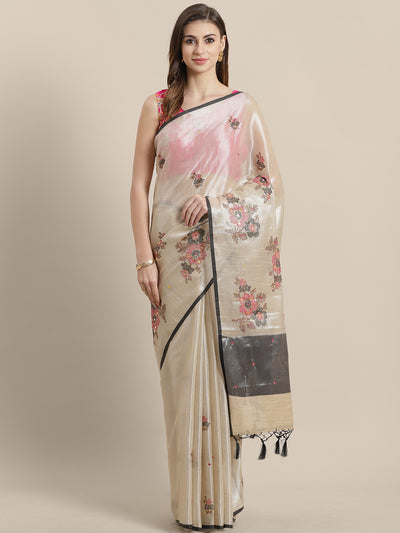 Chhabra 555 Banarasi organza Tissue Silk saree with Metallic Zari  in a cross stich floral pattern