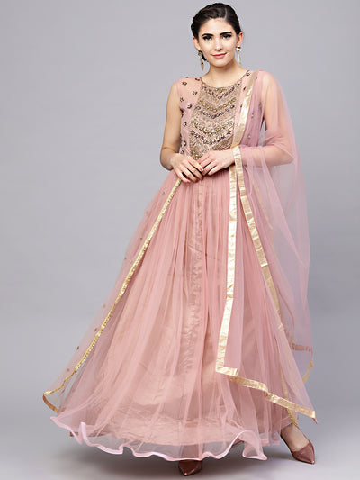 Chhabra 555 Made-to-measure Mauve Layered Gown with Crystal Zari Embroidery and Dupatta