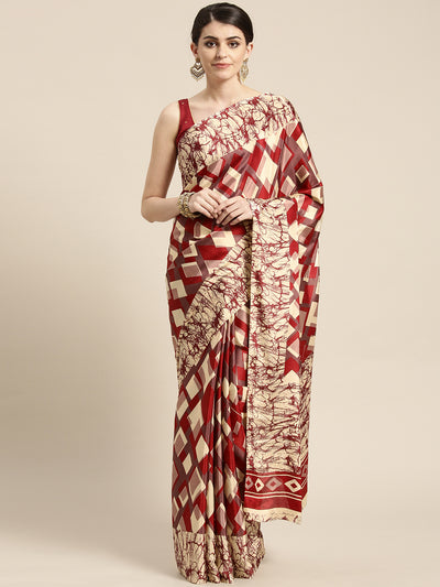 Chhabra 555 French Crepe SIlk printed Saree with Goemetrical Colorblocking Digital design