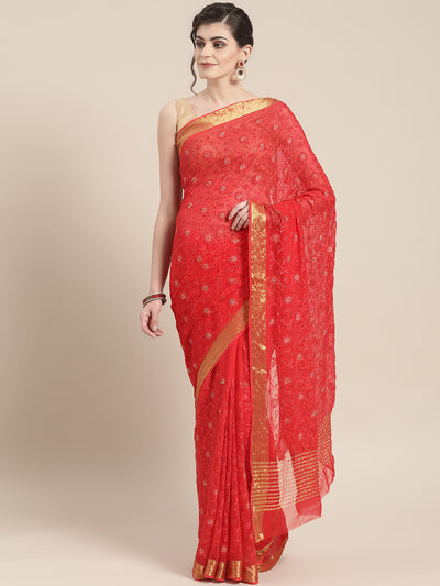 Chhabra 555 Chiffon Crystal Embellished Bandhej Saree with Gold Zari Peacock Motifs