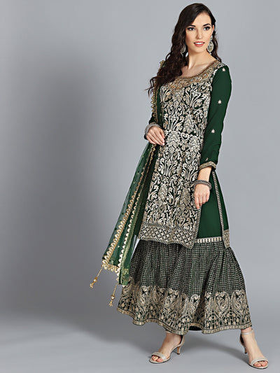 Chhabra 555 Made to Measure Green Embroidered with Zari and Zarkan Work Kurta With heavy Embroidery on neck with Heavy Embroidery Sharara and heavy Dupatta