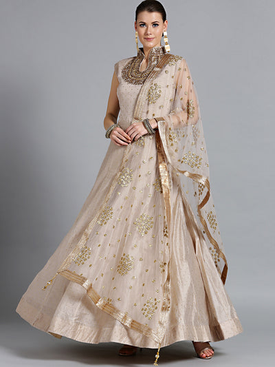 Chhabra 555 Made-to-Measure Gold Anarkali kurta set with Kundan, Sequin Embroidered dupatta
