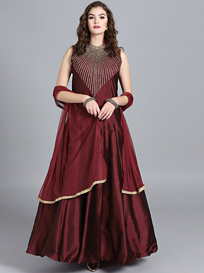 Chhabra 555 Maroon Art Silk Zircon Embriodered Embellished Stitched Gown With Net Dupatta