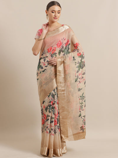 Chhabra 555 Beige Jute Cotton Silk saree with Floral Digital print and Satin Broad Border