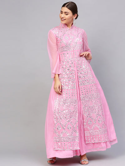 Chhabra 555 Made to Measure Floor length Pink Layered Cocktail Gown with Chikankari and Gota embroidery