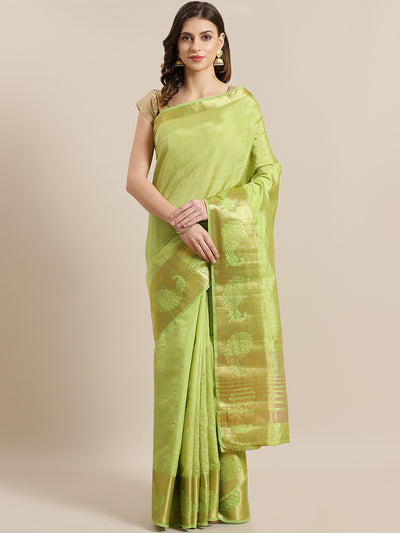 Chhabra 555 Dupion Silk saree with Zari Weaving Peacock Border and Rich Pallu
