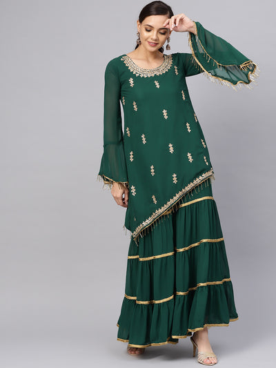 Chhabra 555 Made to Measure Green Kurta Sharara Set with Floral Zari Kundan Embroidery