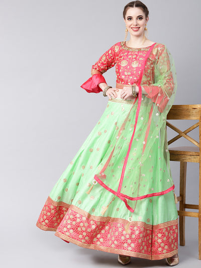 Chhabra 555 Made-to-Measure Lehenga Set with Zari Embroidery, Sequinned Dupatta and Bell sleeves crop top