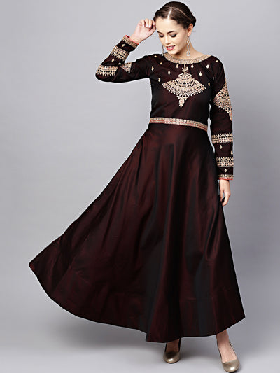 Chhabra 555 Made-to-Measure Maroon Embellished Gown with Zari and Resham Embroidery