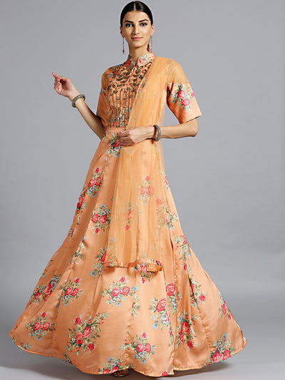 Chhabra 555 Made-to-Measure Peach Floral Print Gown with Embellished neckline and dupatta