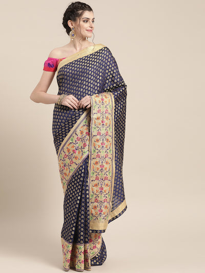 Chhabra 555 Chanderi Banarasi Silk saree with Buti Zari weave and broad multicolor threadwork border