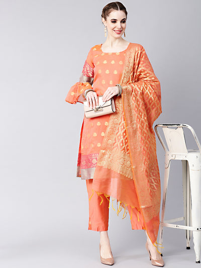 Chhabra 555 Peach Banarasi Handloom Dress Material with Zari Resham Weaving and Tassled dupatta