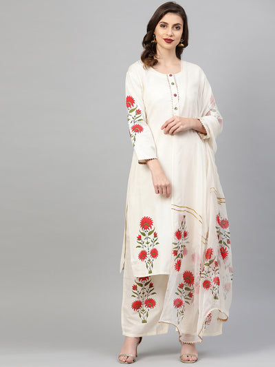Chhabra 555 Made to Measure Kurta Pallazo Set With Colorful Floral Print, Gota Patti embroidery & stylized sleeves