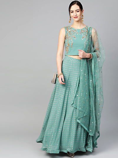 Chhabra 555 Made-to-Measure Crop Top Set with Sequin and Cut-dana embroidery and foil print lehenga