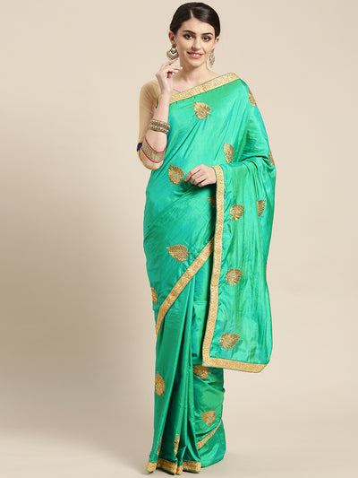 Chhabra 555 French SIlk Embroidered Saree with Golden Zari border and crystal embellishments