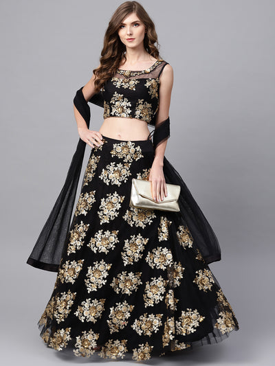 Chhabra 555 Made-to-Measure Black Crop Top Lehenga Set with Zari Sequin Embroidery in floral pattern