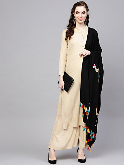 Chhabra 555 Cream and Black Cotton Kurta Set With Palazzo and Resham Embroidered Dupatta