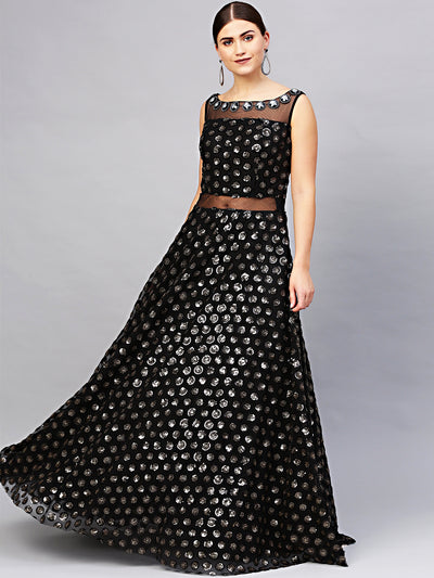 Chhabra 555 Made to Measure Floor length Black Cocktail Gown with Sequin embroidery in black and gold