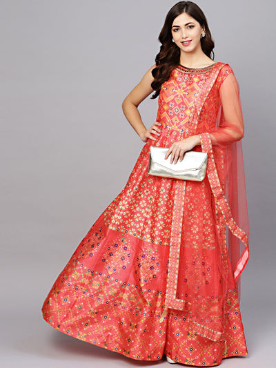 Chhabra 555 Coral Anarkali Kurta Gown with Crystal Embellishments and Digital Print tribal pattern