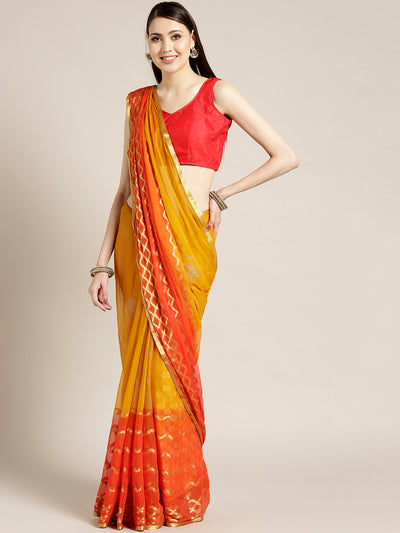Chhabra 555 Yellow Orange Ombre Hand-dyed saree in Khaddi Georgette with Mukaish inspired Gold print Pattern