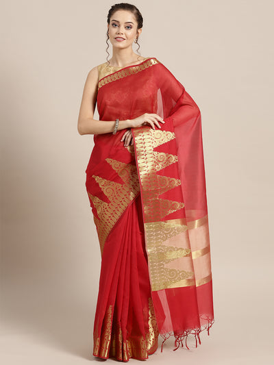 Chhabra 555 Red Banarasi Handloom Silk Saree with Gold Temple pattern and Paisley border