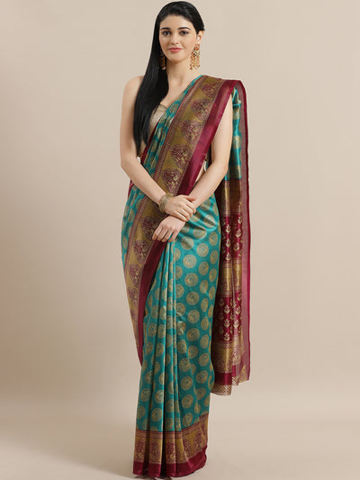 Chhabra 555 Teal Bhagalpuri Silk Digital Printed Saree with Ethnic Peacocks and Mughal Wine Border