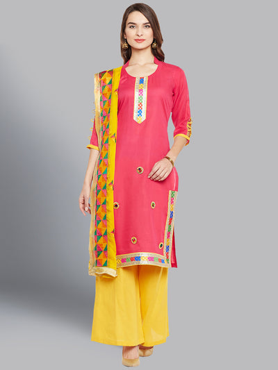 Chhabra 555 Cotton Dress Material with Floral Resham Phulkari Embroidery and Colorful Gota border