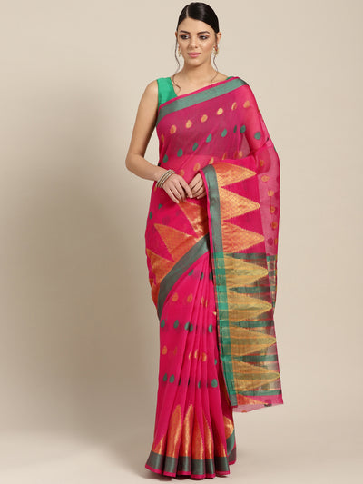 Chhabra 555 Pink Chanderi Silk saree with Zari and Resham weaving in a traditional temple pattern