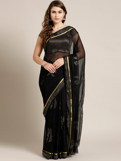 Chhabra 555 Black Chiffon Hand-dyed saree with Mukaish embellished Satin Border and Radha Rani Motif