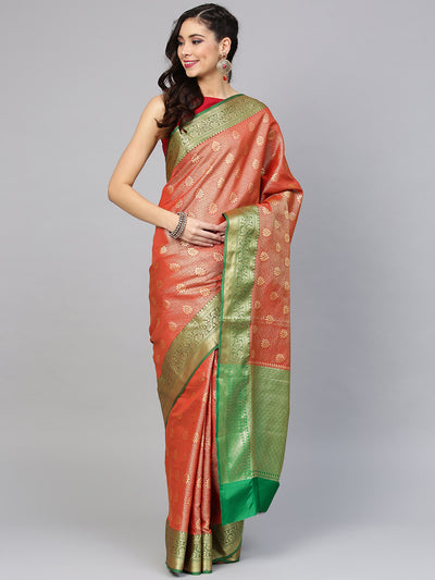 Chhabra 555 Red Handloom, Hand Woven Kanjeevaram Silk saree with meenakari weav Border