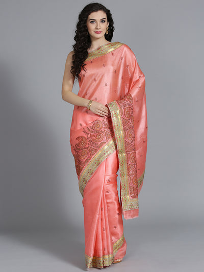 Chhabra 555 Silk Peach Saree with tussar and Resham Embroidery with Paisley Pattern Saree