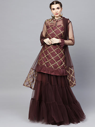 Chhabra 555 Made-to-Measure Purple Net Kurta Sharara Set with Zari, Sequence and Pearl embroidery