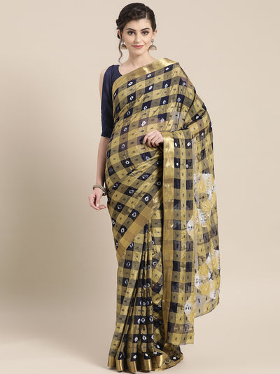 Chhabra 555 Chiffon Checked Saree with Bandhej print, Resham weaving and Gold Zari border