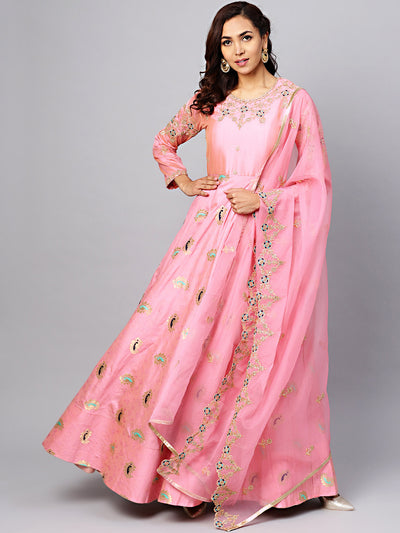 Chhabra 555 Made-to-Measure PInk Embellished Gown with Banarasi weaving and Zari Embroidered Dupatta