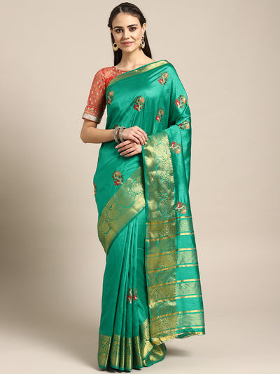 Chhabra 555 Mysore silk saree with intricate Zari weaving border And Resham Cross stitch embroidery