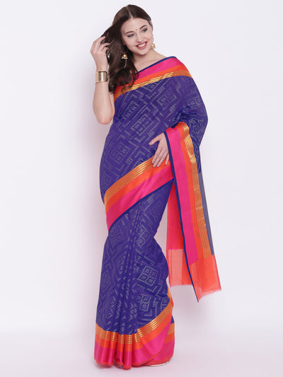 Chhabra 555 Blue Handloom Zari Banarasi Silk Saree with Contrast Pink and Orange Borders