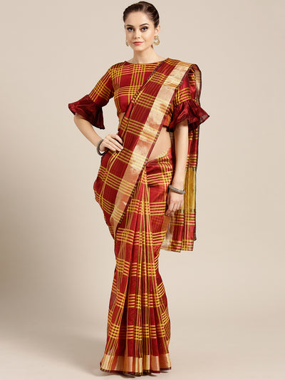 Chhabra 555 Maroon Banarasi Chanderi Silk Saree with Checked Gharchola weaving pattern