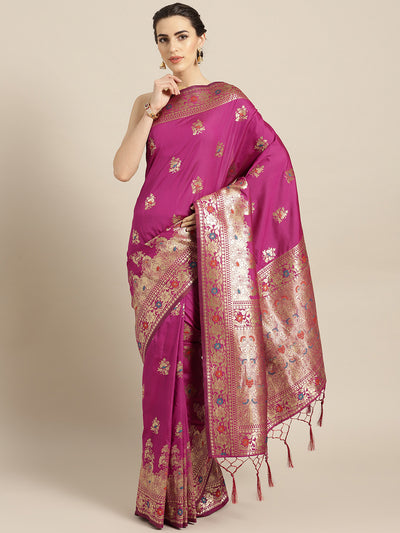Chhabra 555 PInk Banarasi Handloom Silk Saree with Floral Meenakari pattern and Jhalar
