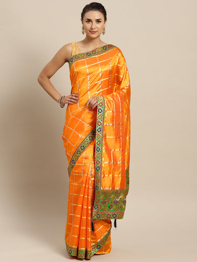 Chhabra 555 Orange Art Silk Saree with Patola Pattern and Meenakari Zari Woven Border