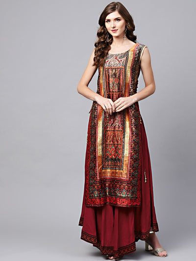 Chhabra 555 Maroon Cotton Layered Kurta Gown with Beads and stone Embellishments and tribal pattern