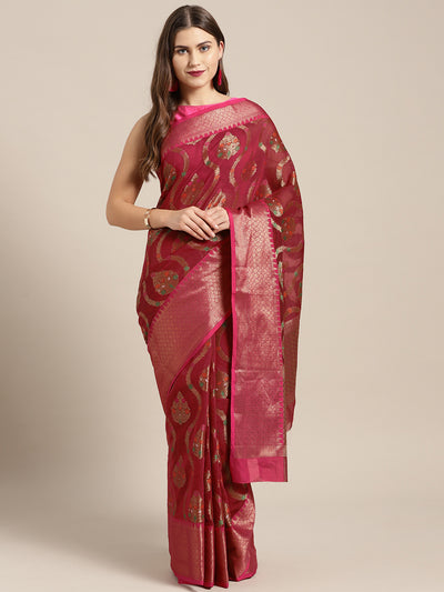 Chhabra 555 maroon Chanderi Silk saree with Resham and Zari Meenakari weaving and Contrast Pink border