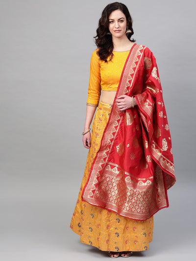 Chhabra 555 Mustard Red Semi-stitched Banarasi Kalidar Lehenga set with Zari, Resham weaving in floral motifs
