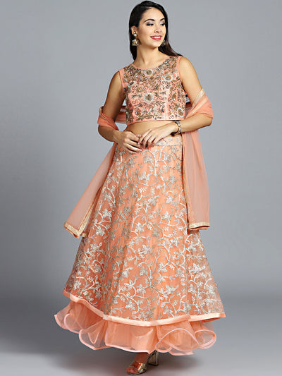 Chhabra 555 Made to Measure Peach Embroidered Lehanga With heavy gota patti and zircon work choli and dupatta