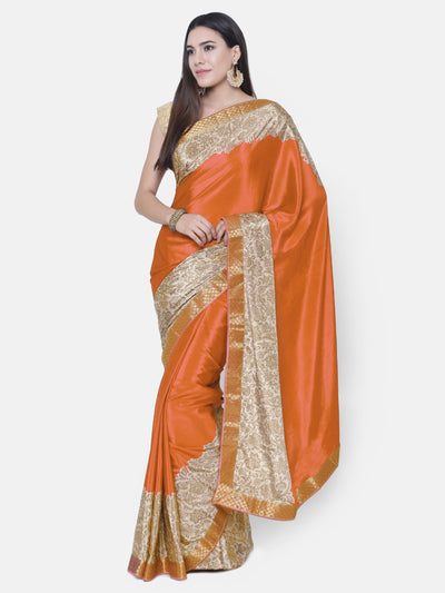 Chhabra 555 Orange Satin Silk Saree with floral print and a woven Border