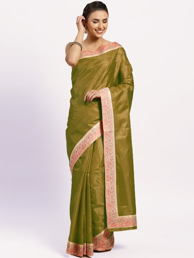 Chhabra 555 Green Tussar Silk Banarasi saree with meenakari pattern border