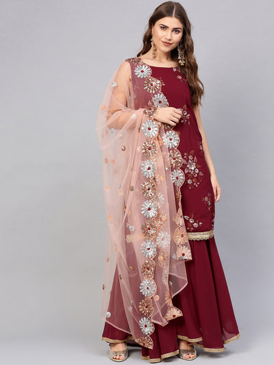 Chhabra 555 Made to Measure Maroon Kurta Sharara Set with Zari Sequin Embroidery and Heavily embellished cut work dupatta