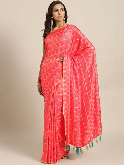 Chhabra 555 Pink Peach Checkered Gharchola style Silk Saree with Peacock motif Embroidered Blouse