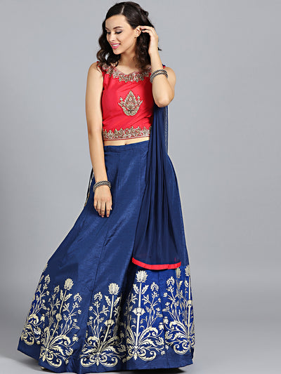 Chhabra 555 Red & Blue Art Silk Hand Embroidered Foil Print Stitched Lehenga Choli With Net Dupatta