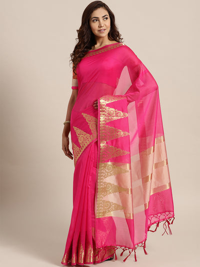 Chhabra 555 Pink Banarasi Handloom Silk Saree with Gold Temple pattern and Paisley border